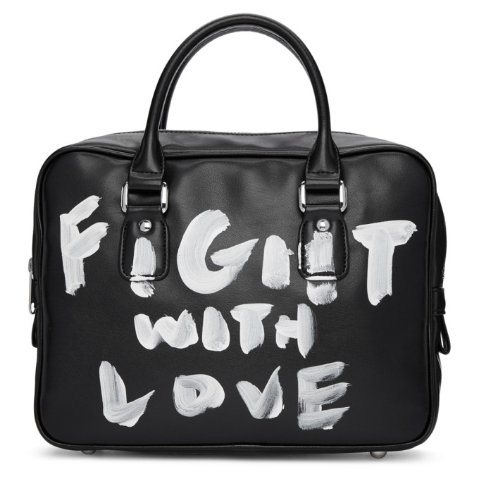 Black Faux-Leather Hand-Painted Bag from SSENSE