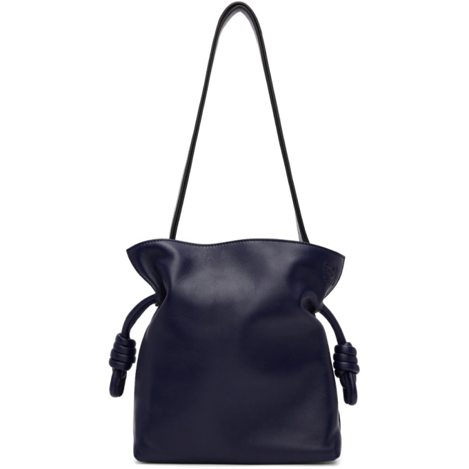 LOEWE FLAMENCO KNOT SMALL LEATHER SHOULDER BAG, NAVY