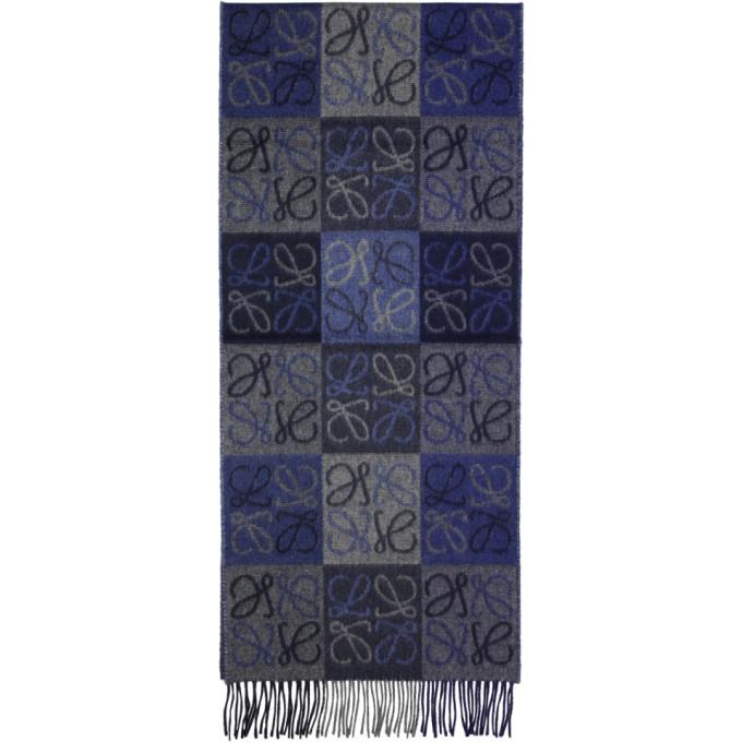 LOEWE Anagram Wool And Cashmere Scarf, 5100.Blu