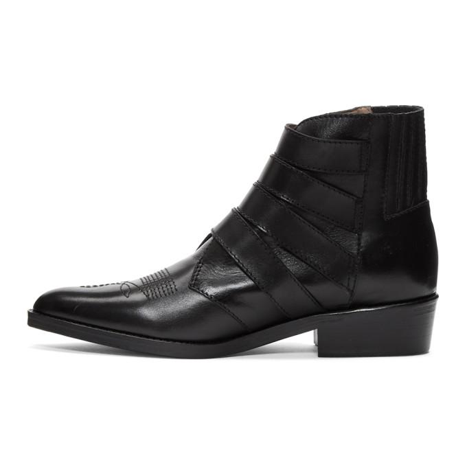 Toga Virilis Black Leather Four-Buckle Boots