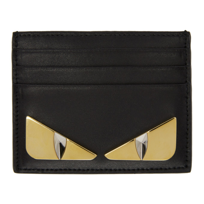Monster Metal Eyes Leather Card Holder, F0Kur Black