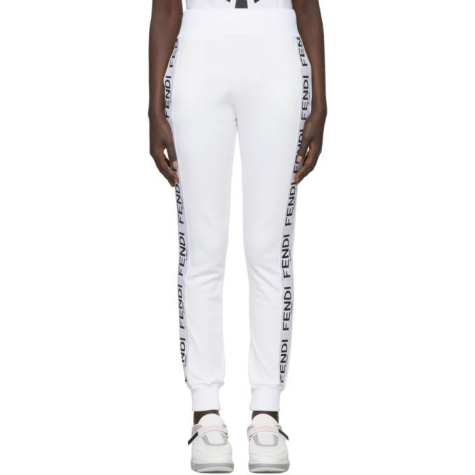 ef4989ac30058 Shoptagr | White 'roma' Band Lounge Pants by Fendi