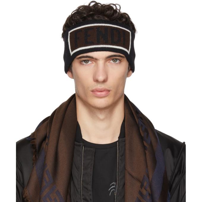 FENDI Black Logo Headband