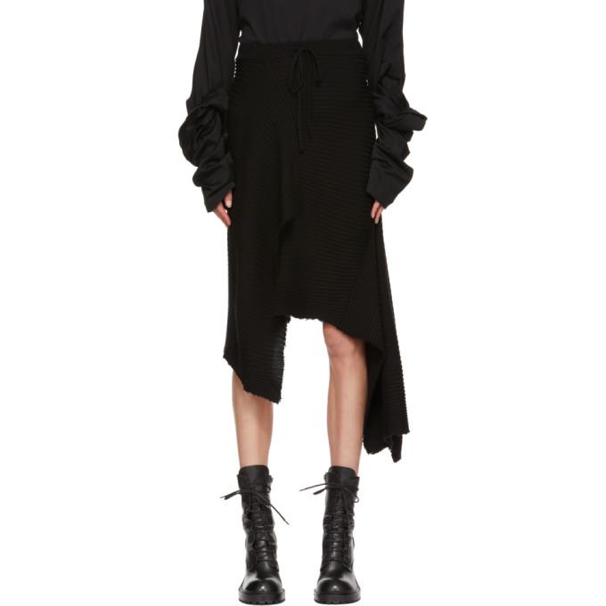 MARQUES' ALMEIDA Marques'Almeida Asymmetric Merino Wool Skirt - Black