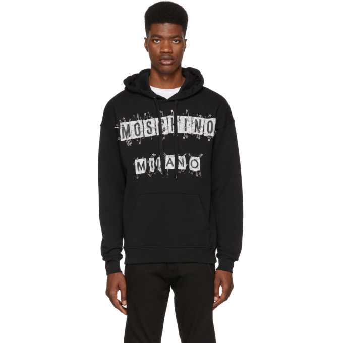 MOSCHINO Safety Pin Hoodie in Black