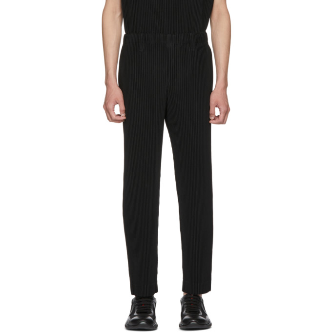 Black Classic Straight Leg Pleated Trousers by Homme PlissÉ Issey Miyake