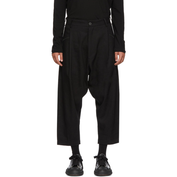 ISABEL BENENATO BLACK LINEN AND WOOL TROUSERS