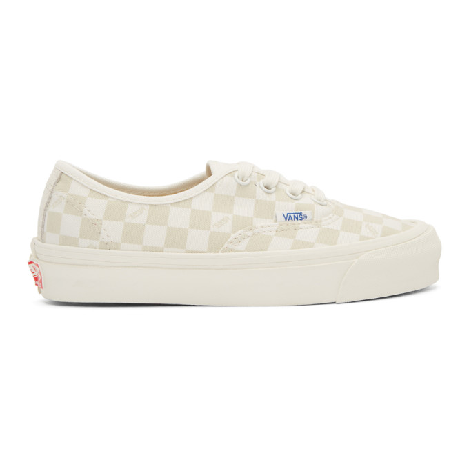 Vans Beige And Off-white Checkerboard Og Authentic Sneakers In ...