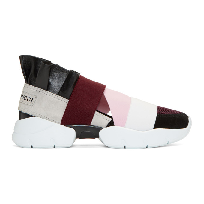 EMILIO PUCCI BURGUNDY AND BLACK CITY UP SNEAKERS