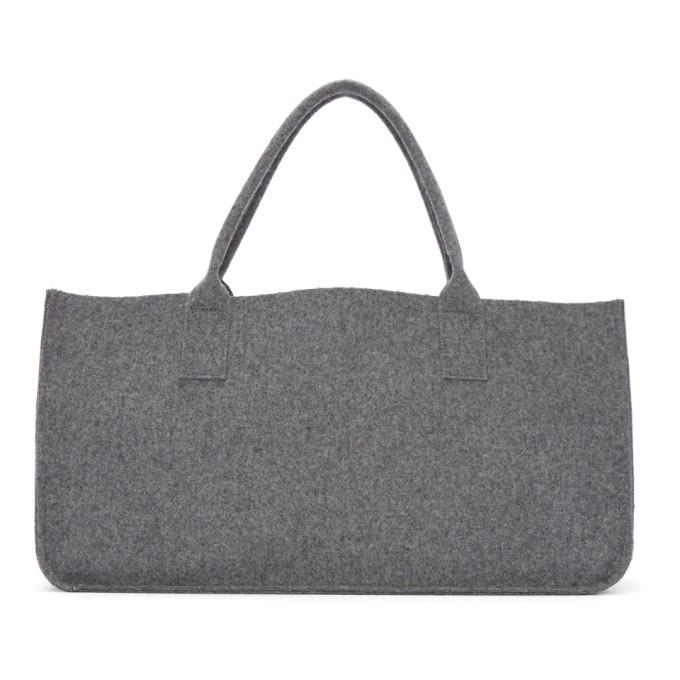 Grey Wool Melton Rectangular Tote from SSENSE