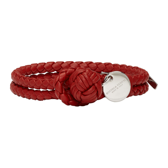 Intrecciato Leather Key Ring in Red