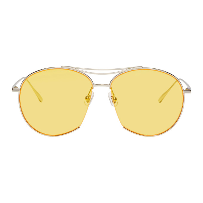 GENTLE MONSTER SILVER AND YELLOW JUMPING JACK SUNGLASSES