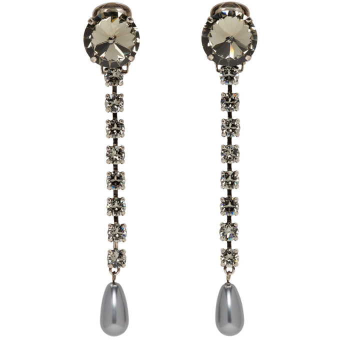 MIU MIU Grey Long Crystal Earrings