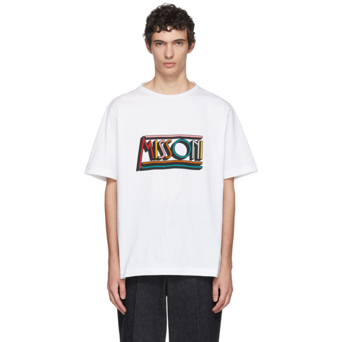MISSONI Logo-Print Cotton-Jersey T-Shirt in White