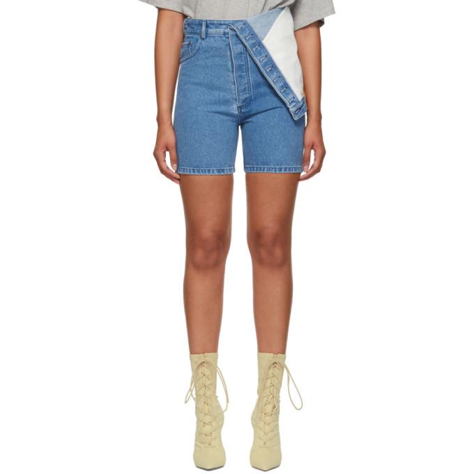 Y/PROJECT Asymmetric Denim Shorts in Blue