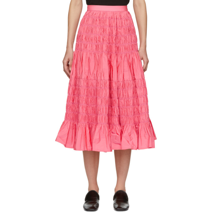 MOLLY GODDARD Helene Tiered Shirred Taffeta Midi Skirt in Pink