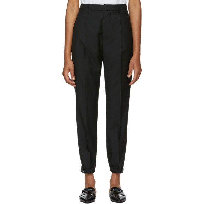 Prada Cropped Tapered Trousers - Black