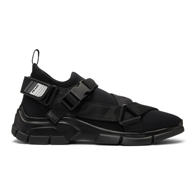 PRADA Xy Webbing-Trimmed Neoprene Sneakers , F0002 Nero