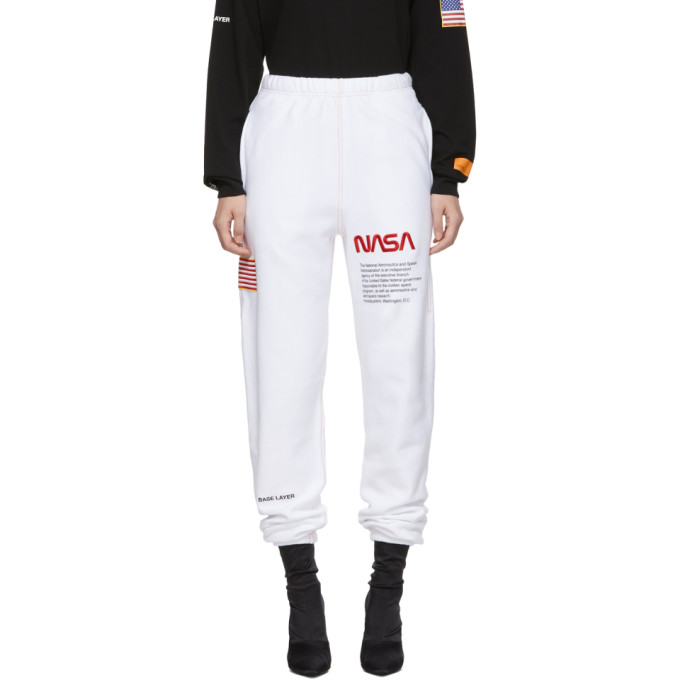 Nasa Printed Cotton Sweatpants, White