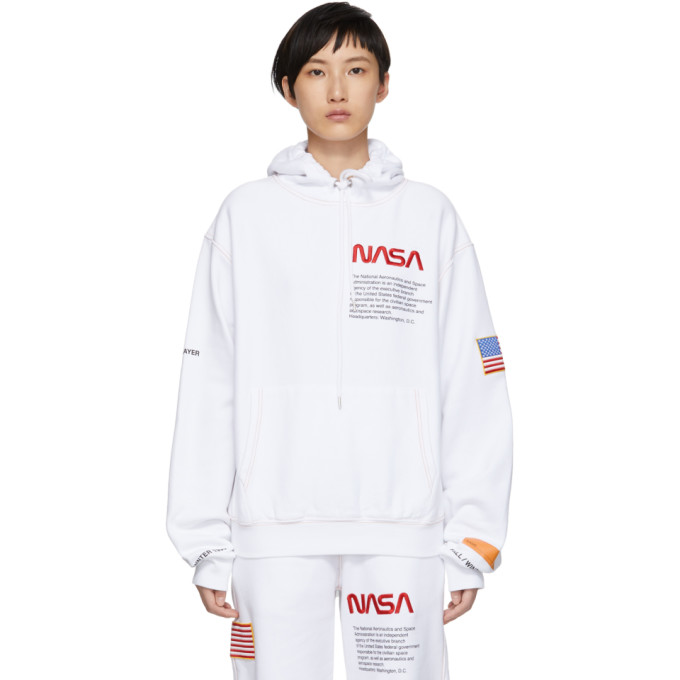Embroidered Cotton Hooded Sweatshirt, White
