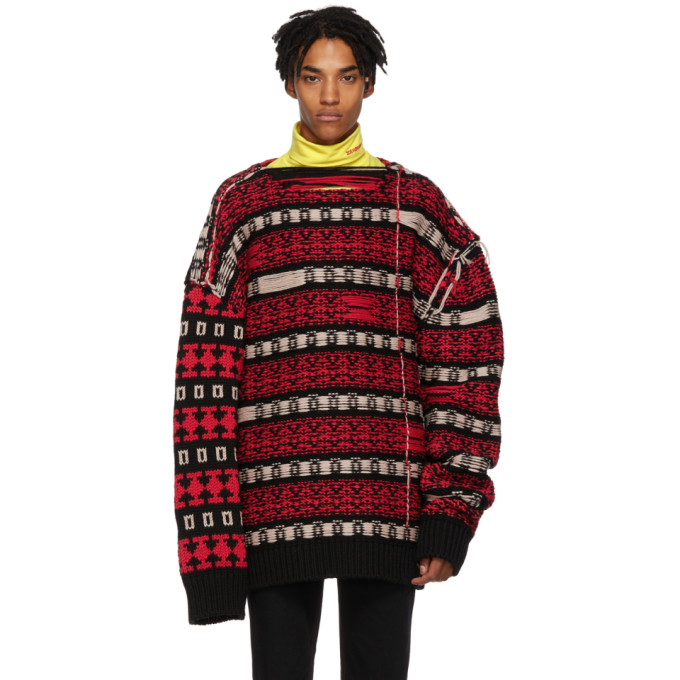 Black & Red Reverse Sweater by Calvin Klein 205 W39 Nyc