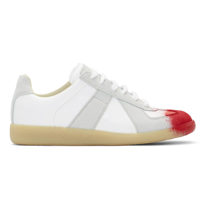 White & Red Replica Sneakers by Maison Margiela