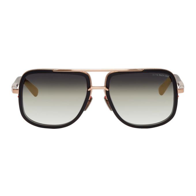 DITA Dita Black And Gold Mach-One Sunglasses in Black/Gold