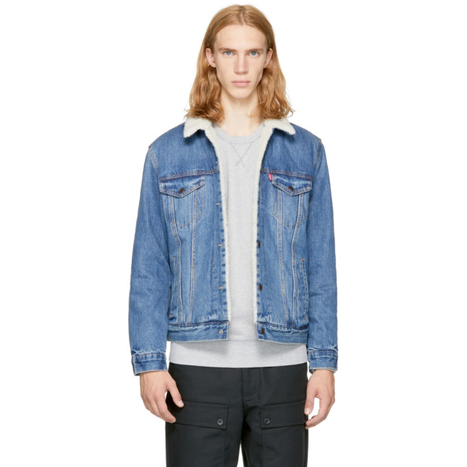 Levi's Blue Denim Type 3 Sherpa Trucker Jacket
