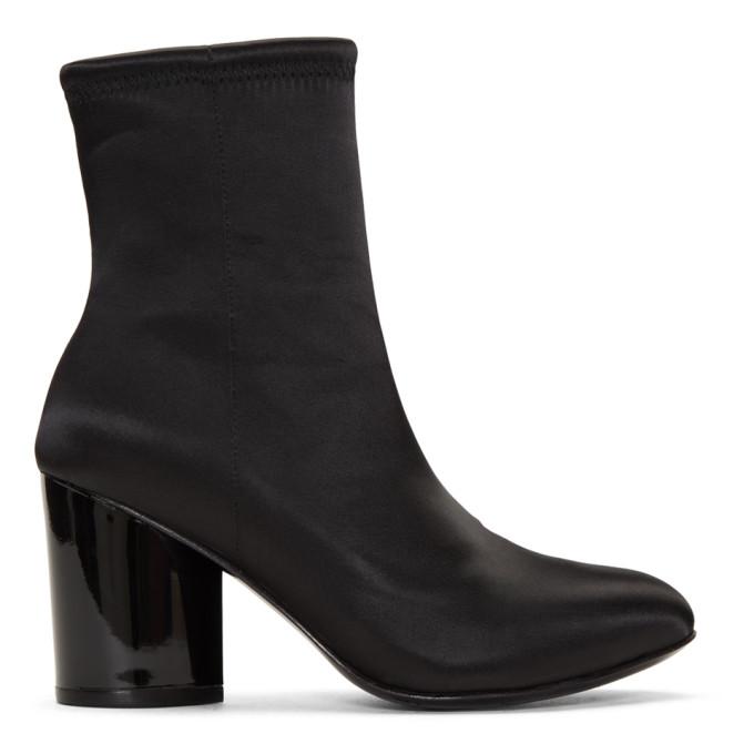 Dylan Satin Block Heel Booties in 0001 Black