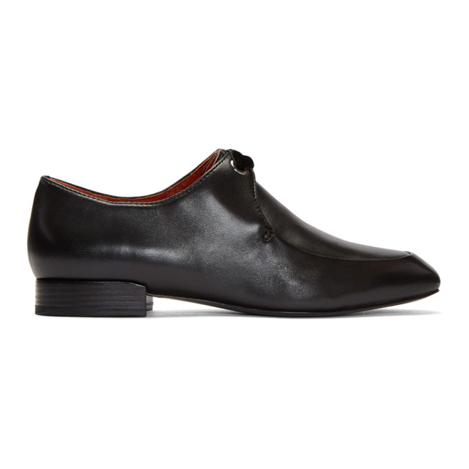 Black Leather Square Toe Lace Up Shoes, Nero