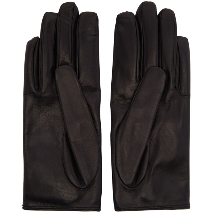 GUCCI Leather Gloves With Grosgrain Bow in Black