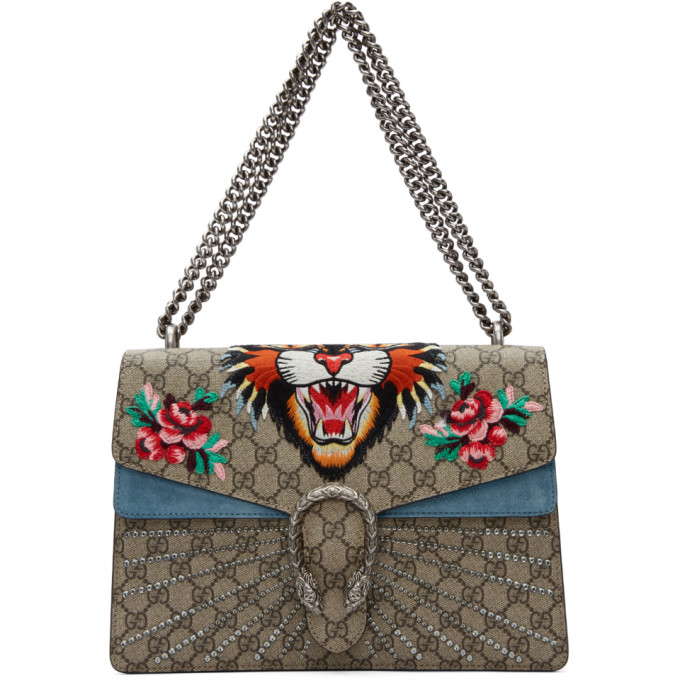7f328680572c Gucci Dionysus Gg Supreme Medium Coated Canvas And Suede Shoulder Bag