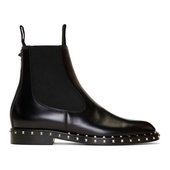 Valentino Leathers Black Valentino Garavani Rockstud Chelsea Boots