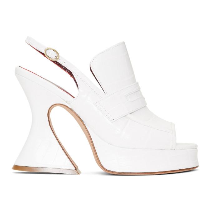Sies Marjan White Metallic Toe Heels