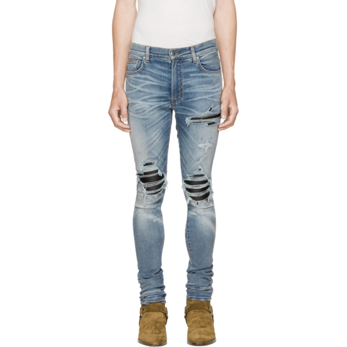 Mx1 Skinny-fit Camouflage Print-panelled Distressed Stretch-denim Jeans - BlueAmiri