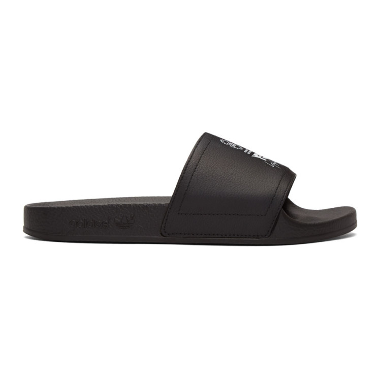 Sandales à Enfiler En Cuir Noires Adilette by Y 3