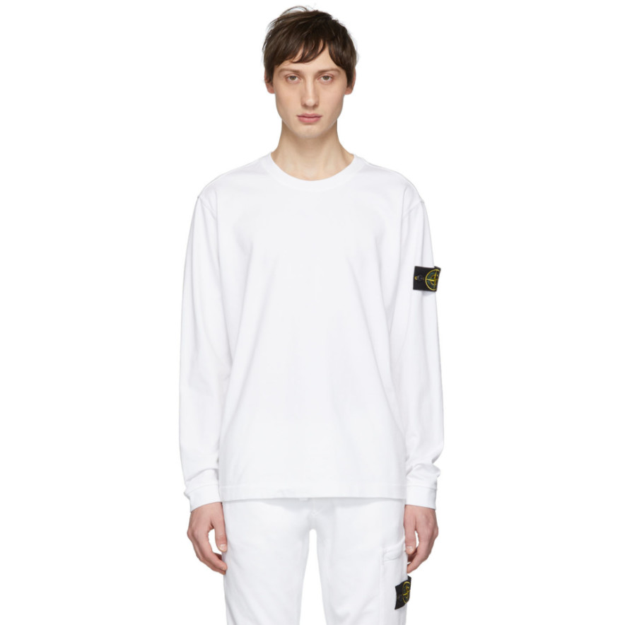 White Logo Badge Long Sleeve T Shirt by Stone Island
