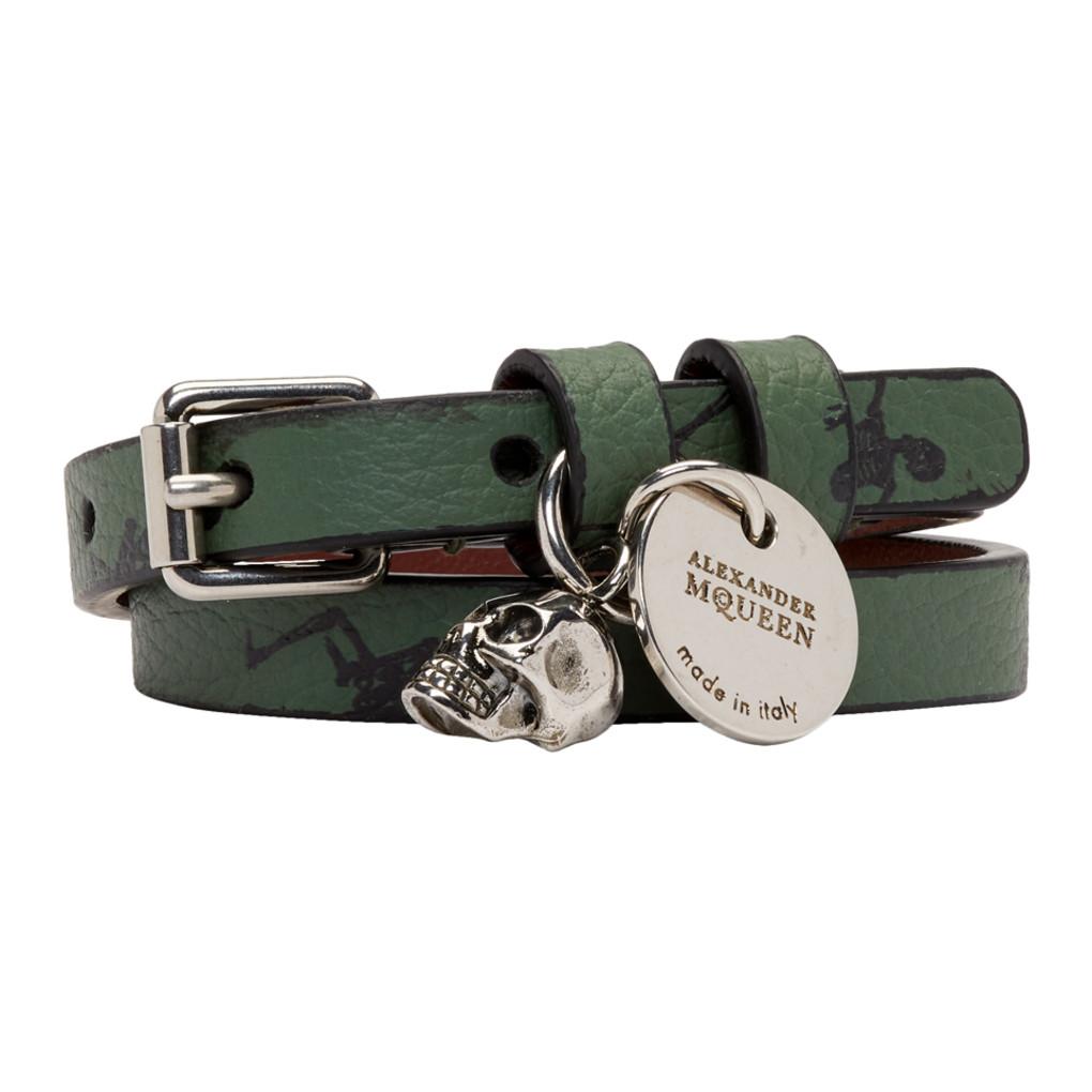 Green Dancing Skeletons Double Wrap Bracelet by Alexander Mcqueen