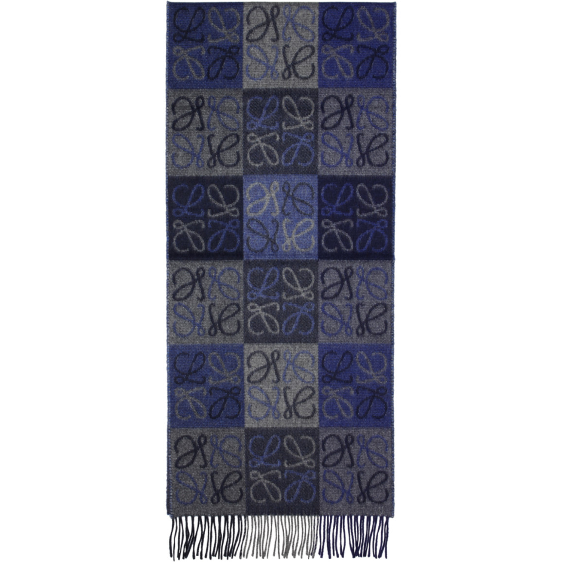 Blue and Grey Logo Anagram Scarf Loewe