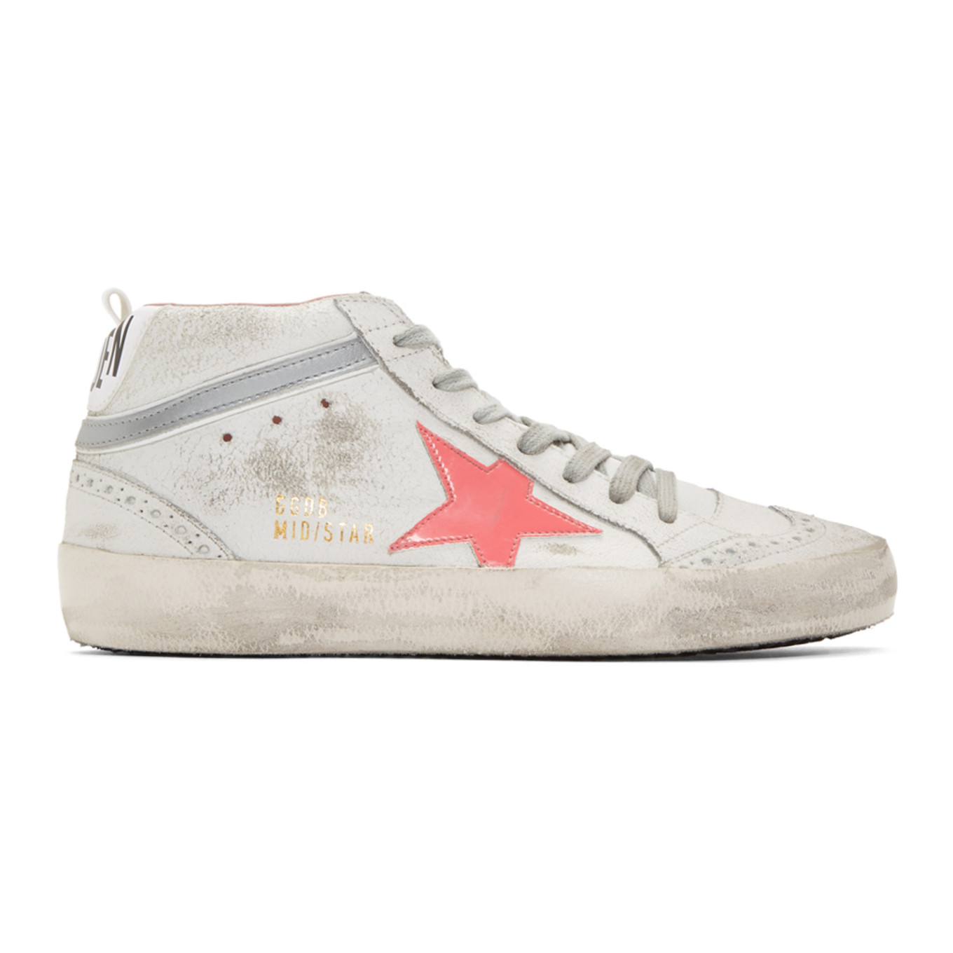 White & Pink Mid Star Sneakers by Golden Goose