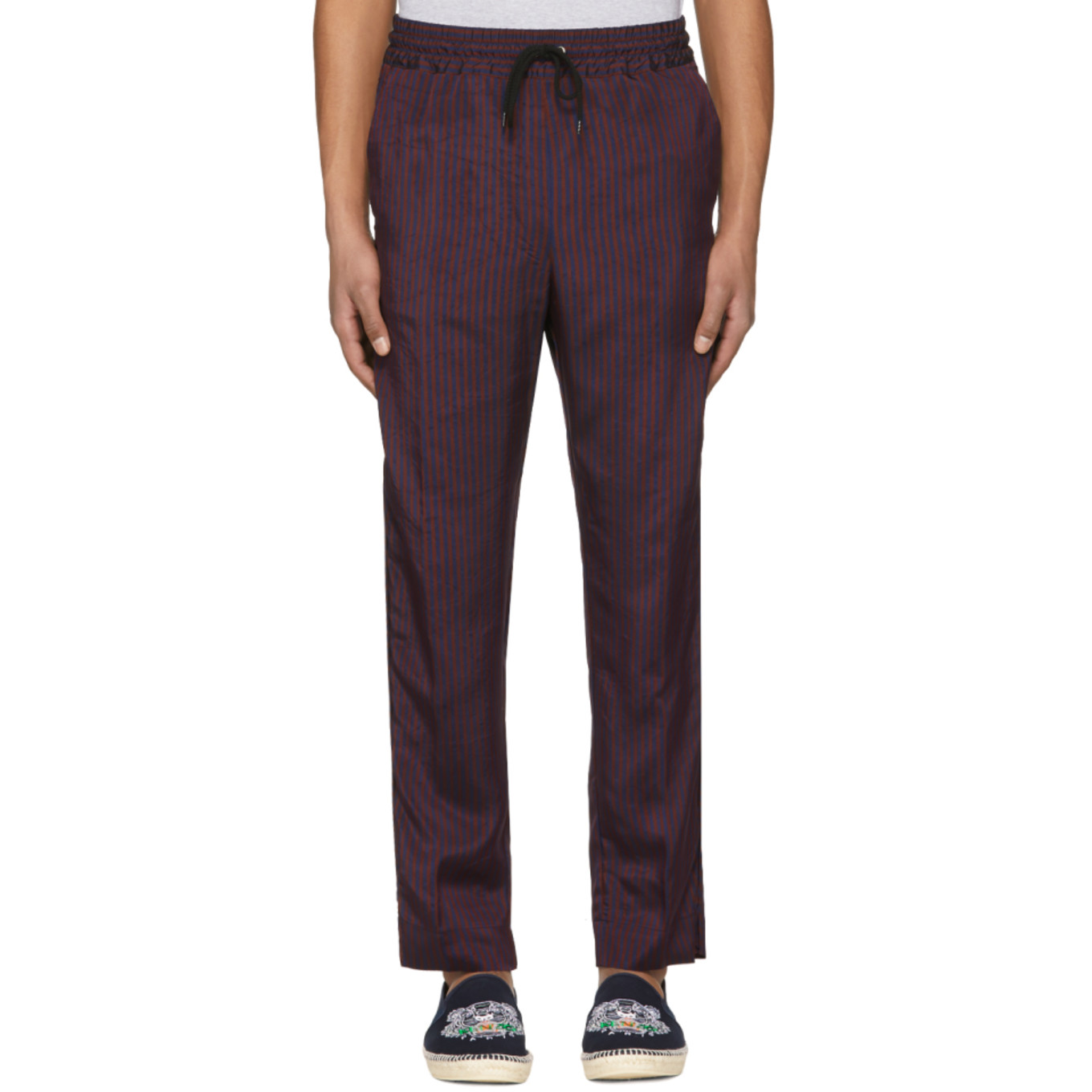 Burgundy & Navy Jacquard Stripe Trousers by Kenzo