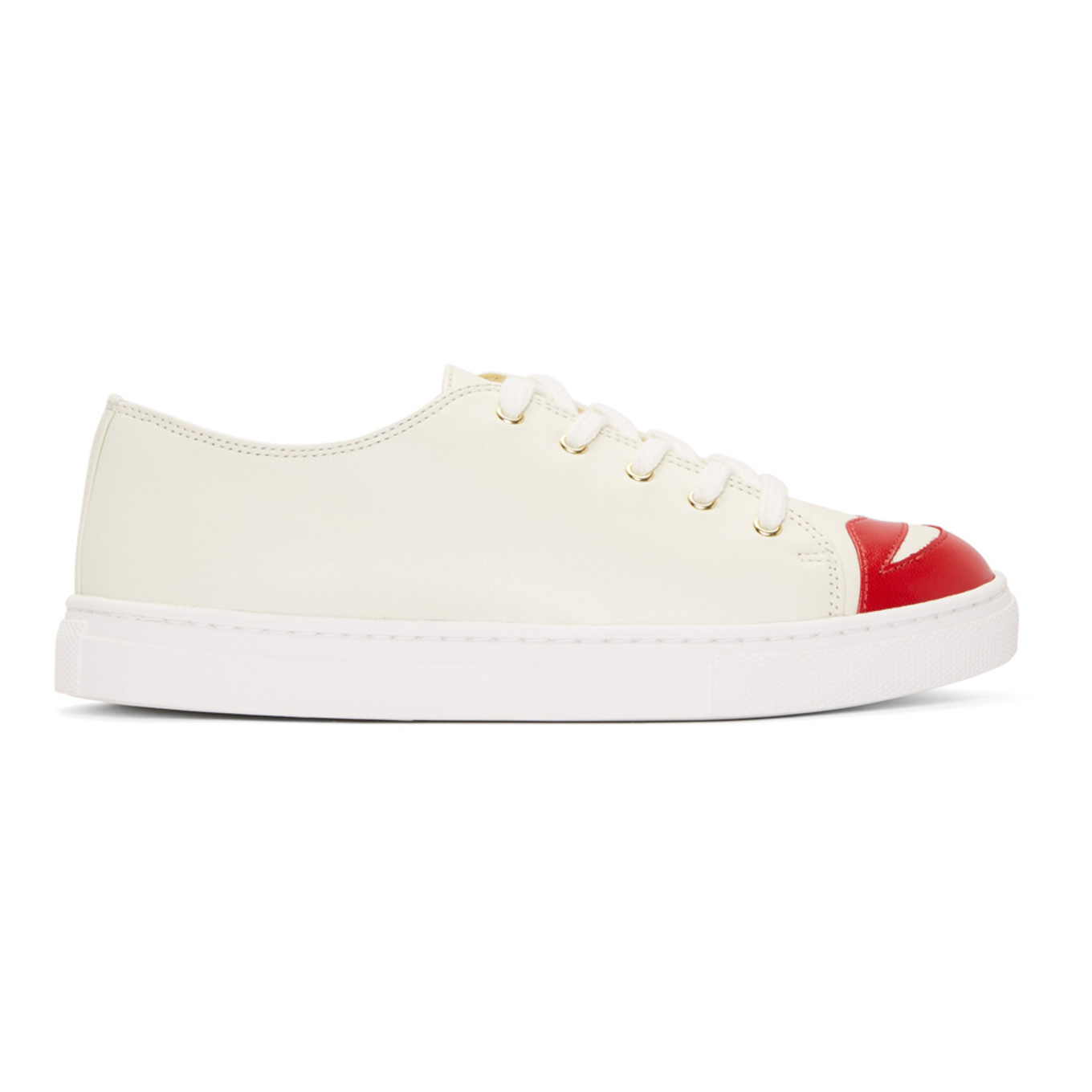White Kiss Me Sneakers by Charlotte Olympia
