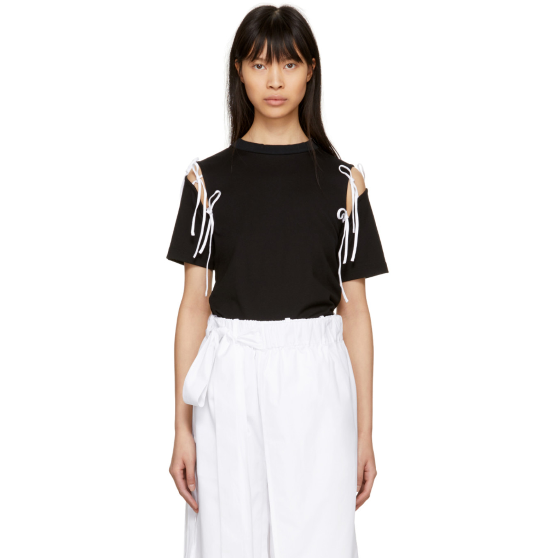 T Shirt Noir Et Blanc Tie Exclusif à Ssense by Facetasm