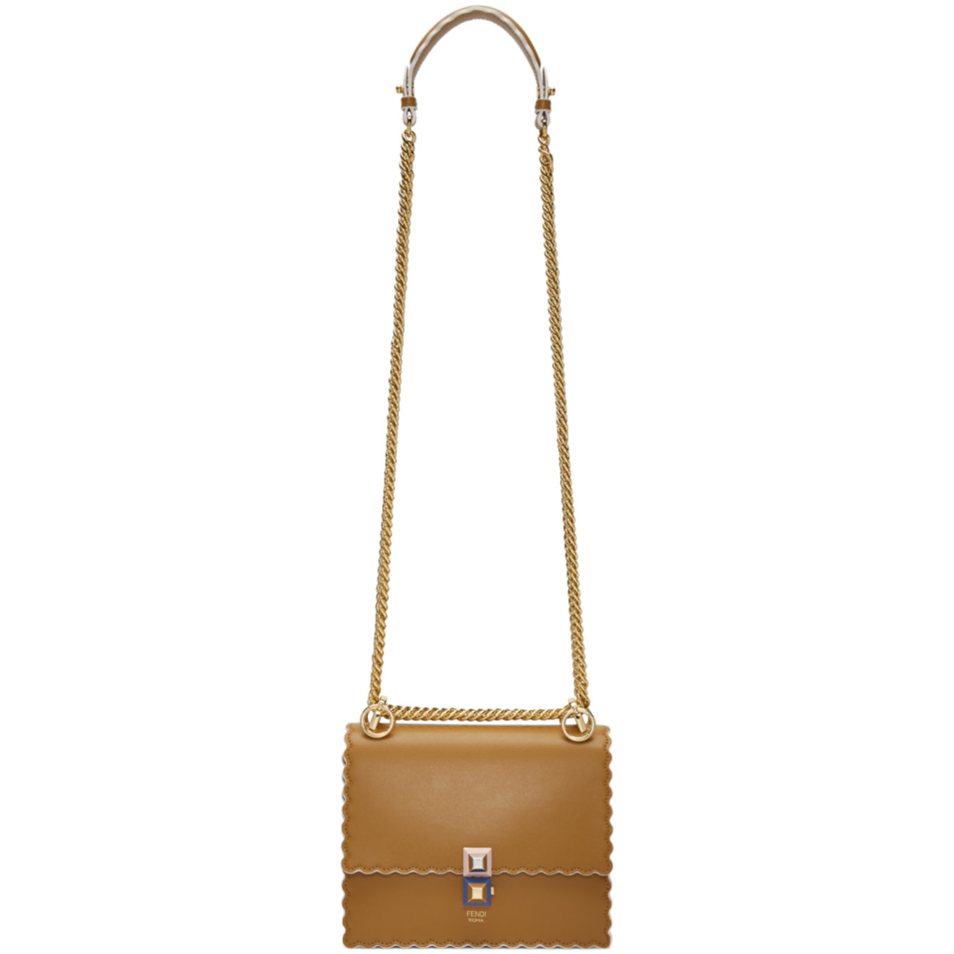 Tan Small Scalloped 'kan I' Bag by Fendi