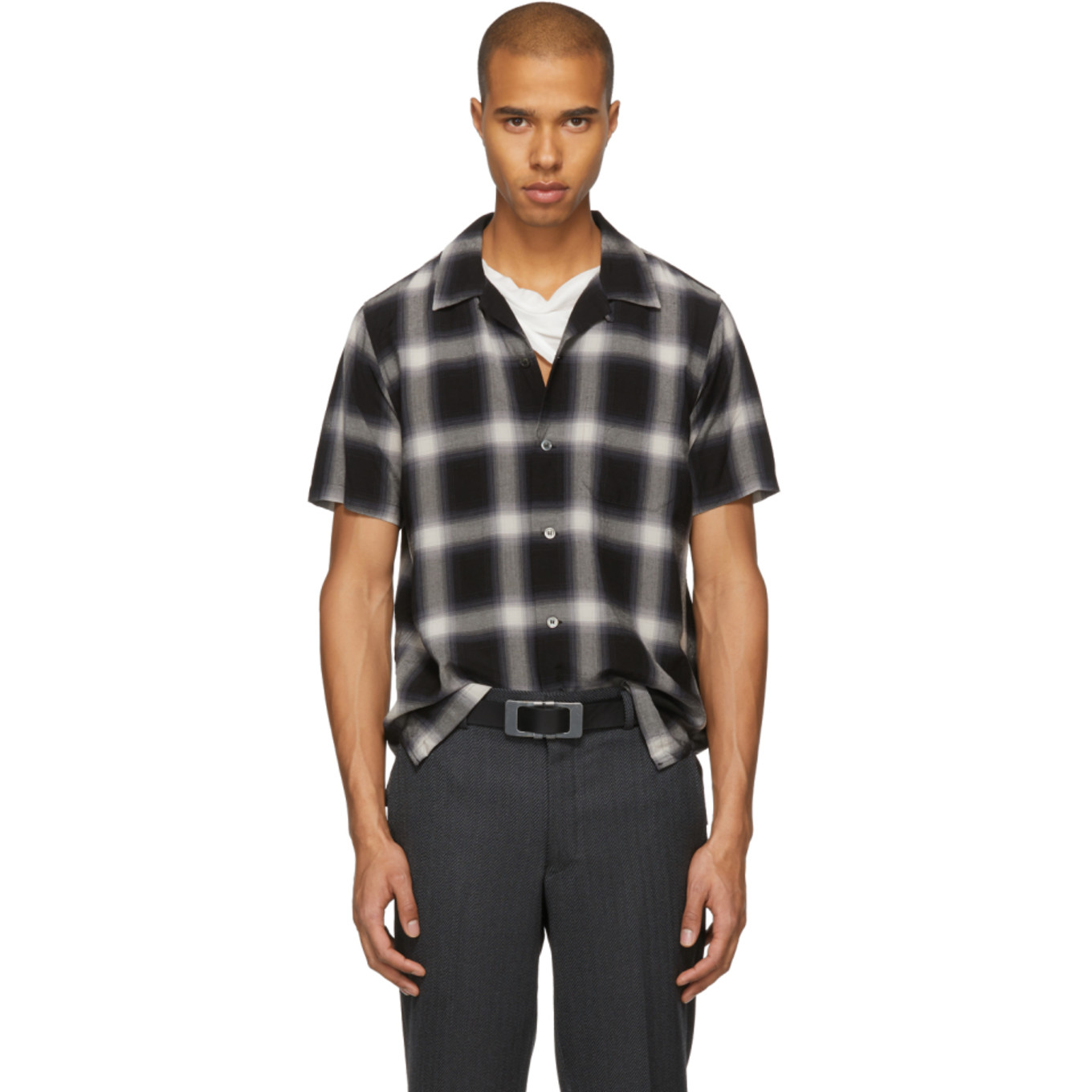Black & White Short Sleeve Check Shirt by Attachment