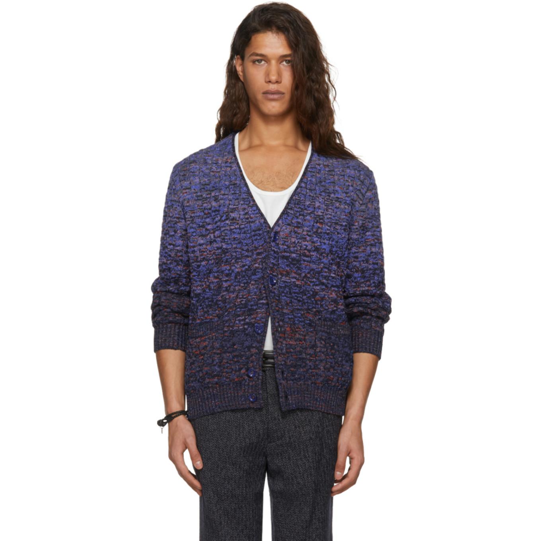 Blue Dégradé Cable Knit Cardigan by Missoni