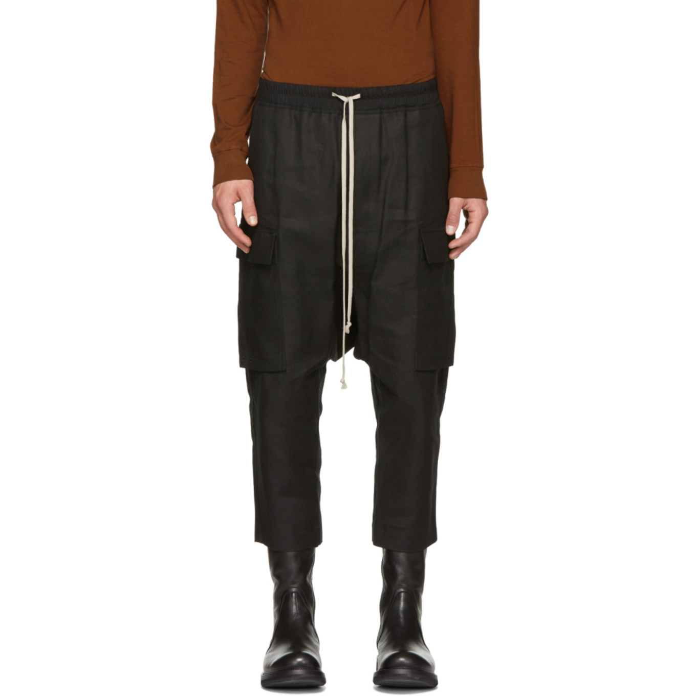 Black Canvas Cropped Cargo Pants by Rick Owens