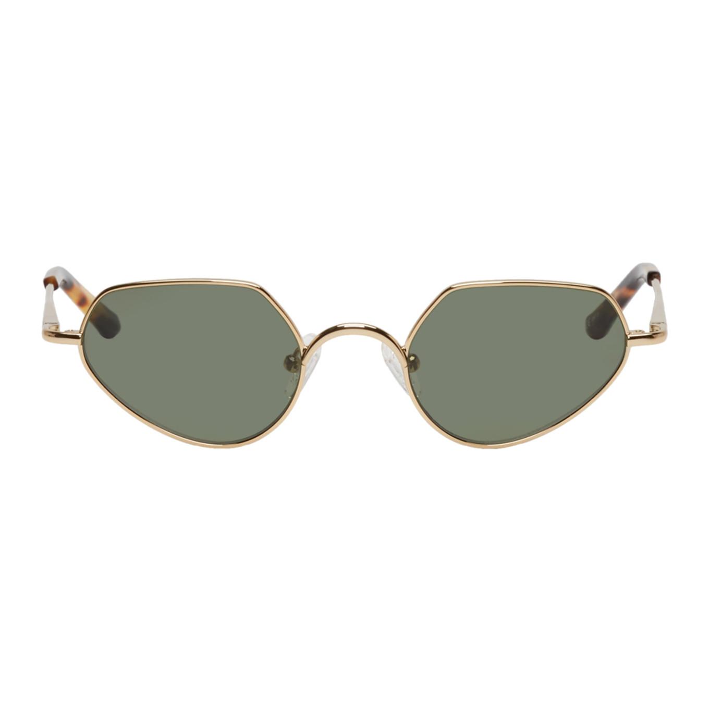 Dries Van Noten Gold Linda Farrow Edition Angular Sunglasses