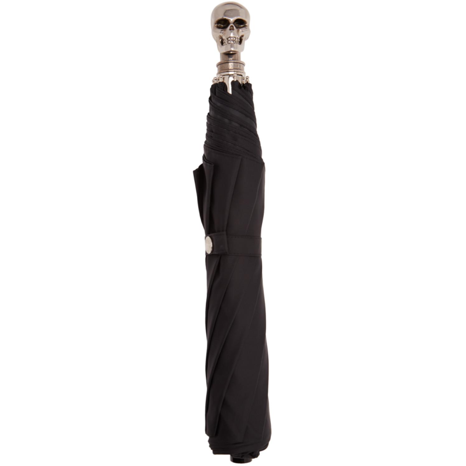 Black & Silver Large Skull Umbrella by Alexander Mcqueen