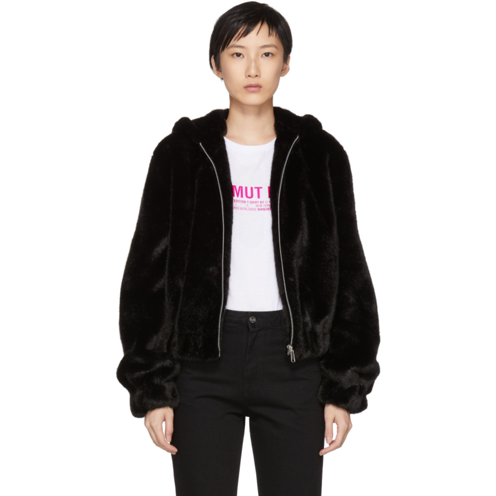Black Furry Hooded Bomber Jacket by Helmut Lang
